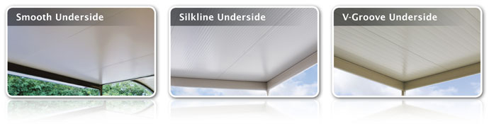 Stratco Cooldek Roofing sheets have three underside finish options: smooth, silkline or v-groove